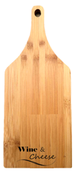 "Bamboo cutting board with ""Wine & Cheese"" engraved 5.5""x0.4""x14"""