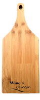 "Bamboo cutting board with ""Wine & Cheese"" engraved 5.5""x0.4""x11"""