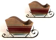 "S/2 Wood & metal sleighs L: 17""x6""x10""H S: 12""x4.8""x8""H"