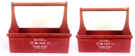 "Smallest in s/2 Red wood tool box style baskets 14.5""x6""x4.5""x12""TH"