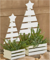 "Set of 2 white wash wood crates with tree backing L: 13""x7""x5""H, S: 10""x5""x4.5""H"