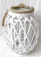 "Round tall white lantern with glass insert and jute handle 12""Dx10""H"