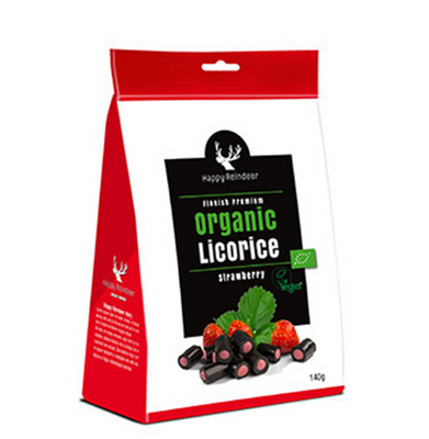 Happy Reindeer Organic Strawberry Licorice 142 gr., 6/cs