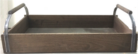 "X Large Tray with wood and galvanized handles 26""x14""x4""H"