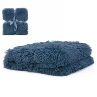 """Teal blue faux fur throw 36""""x48"""""""