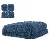 "Teal blue faux fur throw 36""x48"""