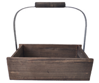 """Wood container with high metal & wood handle 16""""x7""""x5""""Hx15""""OH"""