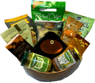 """Christmas gourmet gift basket KIT VB824VBS-KIT (11 food Items) plus Bamboo salad bows, Shredded paper, cellophane bag and a 5"""" pull bow"""