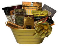 """Christmas gourmet gift basket KIT CTF621GD-KIT (10 food Items) plus metal container, Cellophane bag, pull bows and shredded paper (ASSEMBLY REQUIRED!)  Do it yourself Gift Basket!   CTF621GD Oval lined gold metal container with handles 15""""x7""""x5.25""""H GDV43CRGodiva milk chocolate bar with caramel 43 gr., 24/ GDV57CSHGodiva Milk Chocolate Covered Whole Cashews 57 gr MT100CMaitre Truffout Cappuccino pralines 100 gr., BAS25GCRBasilur Oriental Collection Ceylon Black Tea - GOLDEN CRESCENT  (25 bags/box)  BB64HBe-Bop Biscotti - Hazelnut Zebra 64 gr.,  MC35EDMcStevens  European Dark Chocolate Cappuccino 35 gr TAG140Tago Rurki chocolate rolls 140 gr.,  AP100CFPszczotka chocolate coated Coffee Candy 100 gr., 20/cs BB142TCSheila G's Toffee Crunch Brownie Brittle 142 gr.,  MDT100TCMade Chocolates Toffee Crunch Cocoa Truffles 100 gr.  Accessories Cellophane bag, Pull bow, Shredded paper"""