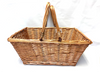 "Rectangular willow shopping/picnic basket with folding handles 17""x13.5""x7""H"
