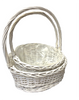 "S/2 White slanted willow baskets with handle - LINED  L: 16""x12""x4.5""H1x8.5""H2x18""OH,  S: 14""x11""x4""H1x7.75""H2x15""OH"