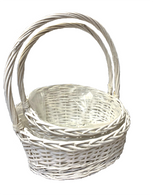 "Largest in S/2 White slanted willow baskets with handle - LINED 16""x12""x4.5""H1x8.5""H2x18""OH"
