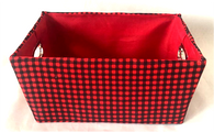 "Rectangular checkered basket with matching fabric liner 11""x8""x5""H"