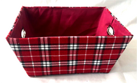 "Small rectangular plaid basket with matching fabric liner 11""x8""x5""H"