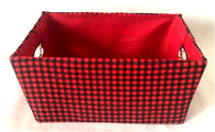 "Rectangular checkered basket with matching fabric liner 13""x10""x6""H"