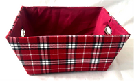 "Rectangular Plaid basket with matching fabric liner 13""x10""x6""H"