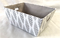 "Rectangular Grey & White Fern design basket with matching fabric liner 13""x10""x6""H"
