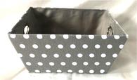 "Rectangular Grey & White Polka dot design basket with matching fabric liner 13""x10""x6""H"