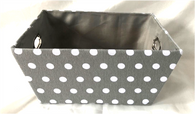 "Rectangular Grey & White Polka dot design basket with matching fabric liner 13""x10""x6""H"