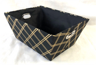 "Rectangular Black with gold diamonds design basket with matching fabric liner 13""x10""x6""H"
