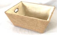 "Rectangular All Natural Jute basket with natural Sisal liner 13""x10""x6""H"
