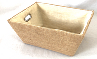 "Rectangular All Natural Jute basket with natural Sisal liner 13""x10""x6""H"