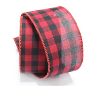 "Checkered/plaid wired burlap ribbon 25 yard/roll - 2.5"" wide"