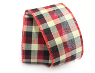 "RD/BK/WH Plaid wired burlap ribbon 25 yard/roll - 2.5"" wide"