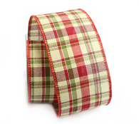 "RD/GR/CR Plaid wired burlap ribbon 25 yard/roll - 2.5"" wide"