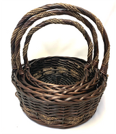 "Set of 3 Round willow & seagrass baskets with handle   S: 11""Dx4.5""Hx12""H M: 13""Dx5""Hx14""OH L: 15.5""Dx6""Hx16""OH"