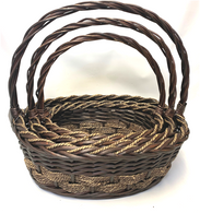 Set of 3 Oval willow & seagrass baskets with handle