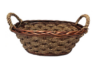 "Oval willow & seagrass basket with seagrass handles 15""x9.5""x7""Hx9""OH"