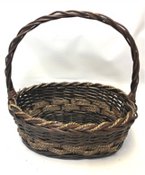 Medium in set of 3 Oval willow & seagrass baskets with handle