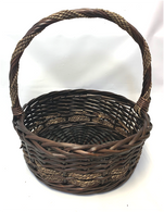 """Large Round willow & seagrass baskets with handle 15.5""""Dx6""""Hx16""""OH"""