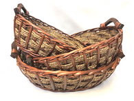 Set of 3 Oval willow & seagrass baskets with wooden side handles