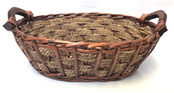 Medium in set of 3 Oval willow & seagrass baskets with wooden side handles