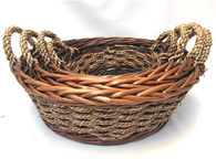 Set of 4 Round willow & seagrass baskets with seagrass handles