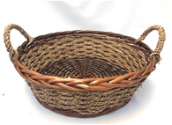 Smallest in set of 4 Round willow & seagrass baskets with seagrass handles