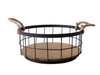 """Round iron and wood basket with Jute handles 12""""Dx5""""H"""