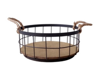 "Round iron and wood basket with Jute handles 12""Dx5""H"