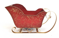 "Metal red sleigh with gold swirls & snowflakes 16""x8""x9""H"