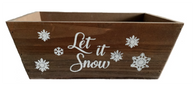 "Rectangular tapered ""Let it Snow"" wood container  11""x7""x4""H"