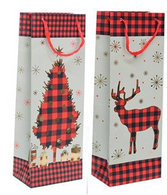 "RW Christmas (Tree/Reindeer) wine bottle paper gift bags 2 styles 5""x3.4""x14.2""H"