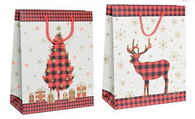 "RW Christmas (Tree/Reindeer) paper gift bags 2 styles 10.2""x5""x12.8""H"