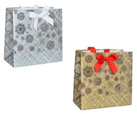 "SLGD Christmas glitter (Silver/Gold) paper gift bags 2 styles 10""x5""x10""H"