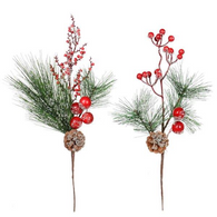 "16"" Decorated Pine Picks - 2 styles"