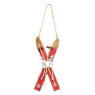 "6.5"" Hanging Wood Skis ornament"