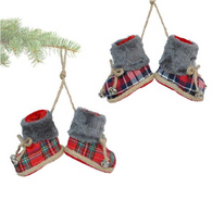 """3"""" Hanging Plaid Boots Ornaments - 2 styles"""