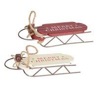 "7"" Merry Christmas wood sled - 2 styles"
