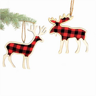"5"" Wood & plaid fabric hanging deer - 2 styles"
